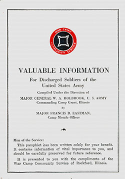 Front Cover, Valuable Information for Discharged Soldiers of the United States Army, 25 April 1919.