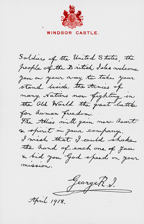 Letter to Soldiers of The United States A.E.F. from King George V - April 1918.