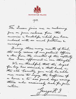 Letter from King George V to British POW's On Their Release in 1918.