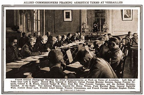 Allied Commissioners Framing Armistice Terms at Versailles.