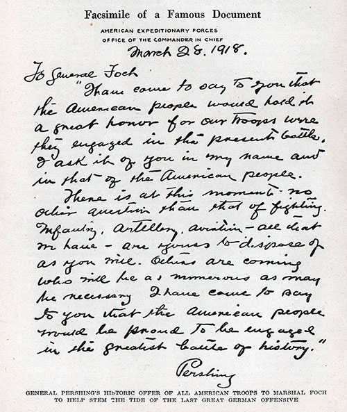 Handwritten Letter from General John Pershing to General Foch dated 28 March 1918.