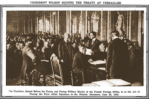 President Wilson Signing the Treaty at Versailles.
