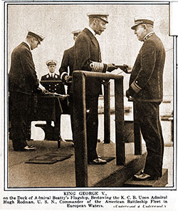 King George V., on the Deck of Admiral Beatty's Flagship, Bestowing the K. C. B. upon Admiral Hugh Rodman
