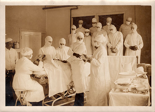 Operating Room at the Base Hospital Surgical Ward at Camp Pike Showing an Operation in Progress.