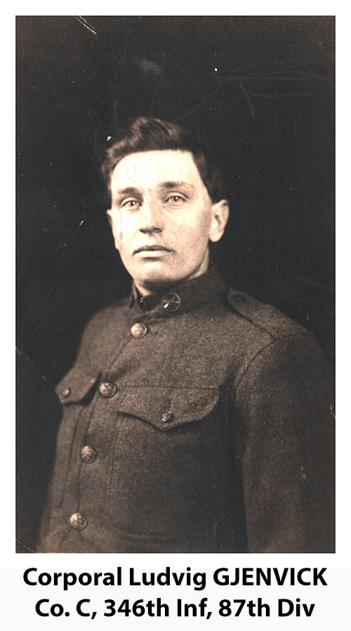 Portrait Photograph of Corporal Ludvig K. Gjenvick of Company C, 346th Infantry, 87th Division, c1918.