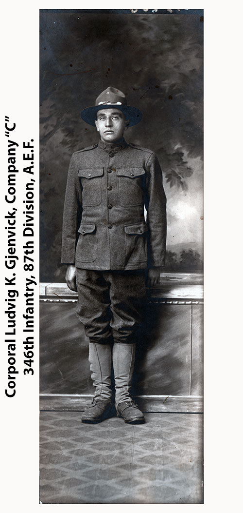 Full-Length Photograph of Corporal Ludvig Gjenvick of the 346th Infantry, 87th Division, c1918.