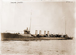 The USS Jacob Jones, An American Destroyer, Torpedoed and Sunk by a German U-Boat, 6 December 1917.