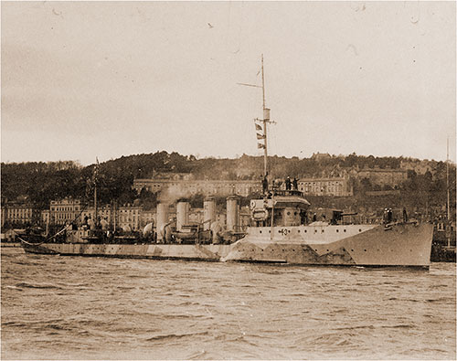 The USS Cassin (DD-43) Shown in Camuflag Leaving Queentown (Cobh), Ireland for Home, 1918.