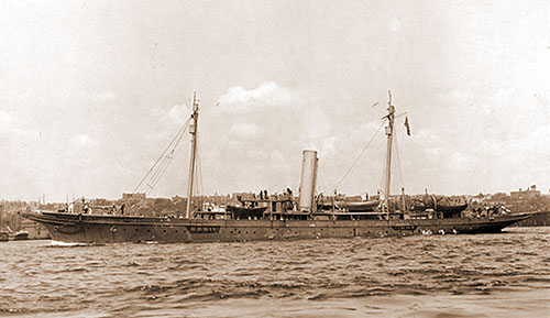 The Converted Yacht USS Alcedo SP-166, Sunk by German Submarine UC-71, 75 Miles Southwest of Brest, France.