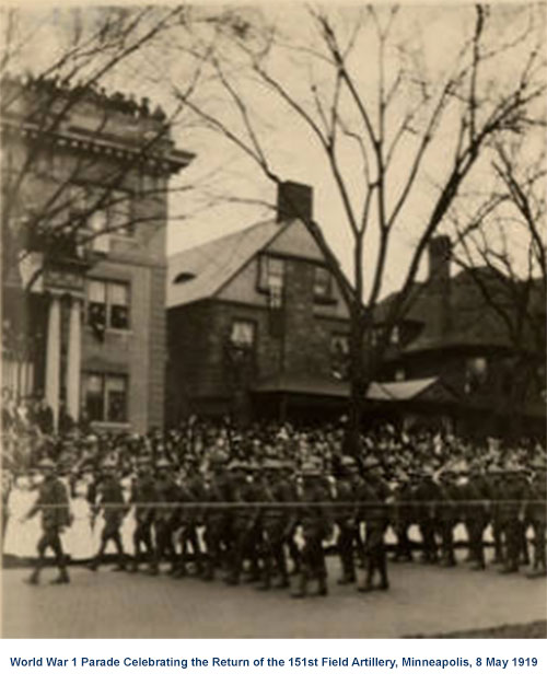 Parade Celebrating the Return of the 151st Field Artillery in Minneapolis on 8 May 1919.