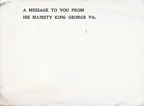 Envelope containing the King George Letter to the soldiers of the A. E. F.