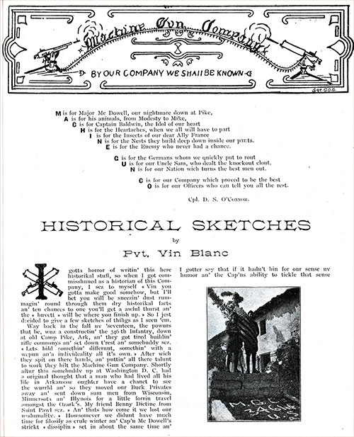 Historical Sketches by Pvt. Vince Blanc of Machine Gun Company, 346th Infantry, P. 1 of 2.