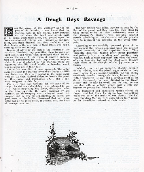 "Short Story by an Unknown Soldier of Company ""G"", 346th Infantry, AEF entitled ""A Dough Boys Revenge."""
