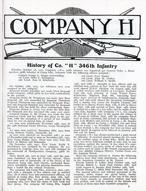 "History of Company ""H,"" 346th Infantry, 87th Division, AEF."