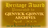 Heritage Gold Award for Genealogical Website - Gjenvick-Gjønvik Archives