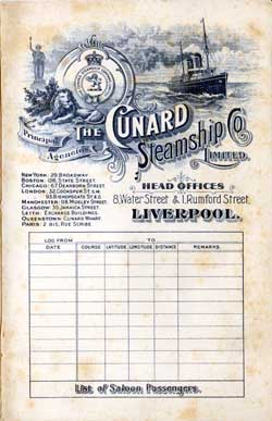 Passenger List, Cunard Line R.M.S. Caronia, 1906, Liverpool to New York