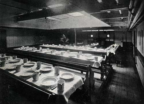 "THIRD CLASS DINING ROOM (LOOKING FORWARD), STEAMSHIP ""NEW ENGLAND."""