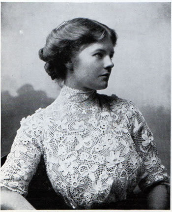 Women wearing fine lace blouse - Irish Industries