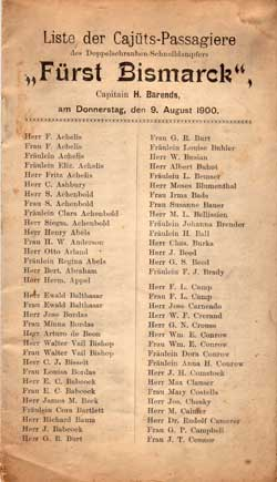 Passenger List, Hamburg-Amerika Linie S.S. Fürst Bismarck, 1900, Hamburg, Germany to New York