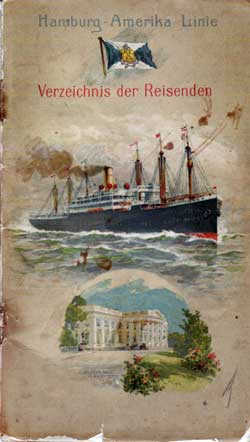 Front Cover, S.S. President Lincoln Passenger List, November 1912