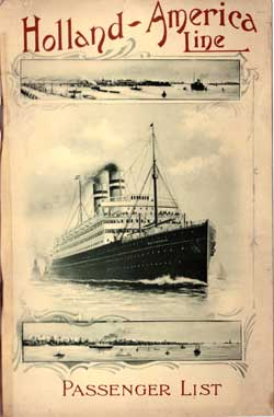 Passenger List, Holland America Line T.S.S. Ryndam, 1908, Rotterdam to New York