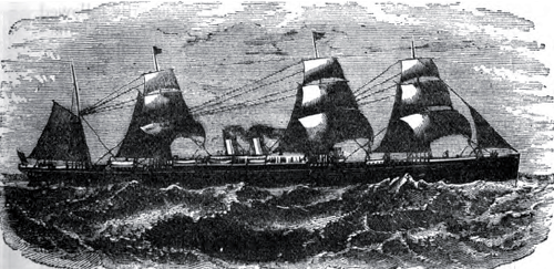 White Star Line Steamer, Britannic, Outward Bound - 1877 Illustration