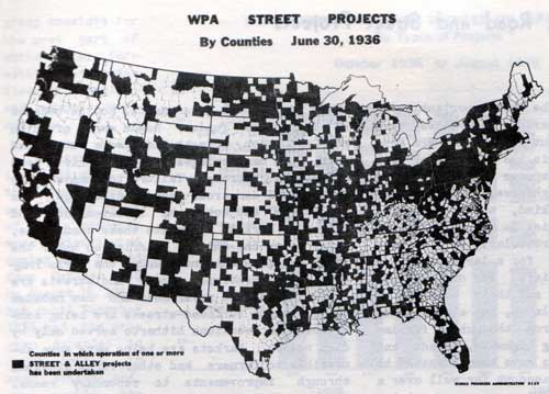 WPA Street Projects by Counties, June 30, 1936